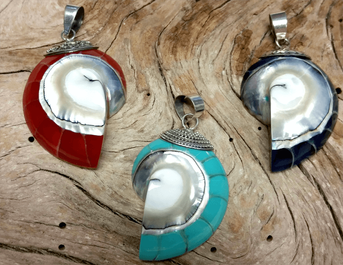 Sterling Silver and Nautilus Shell Pendants